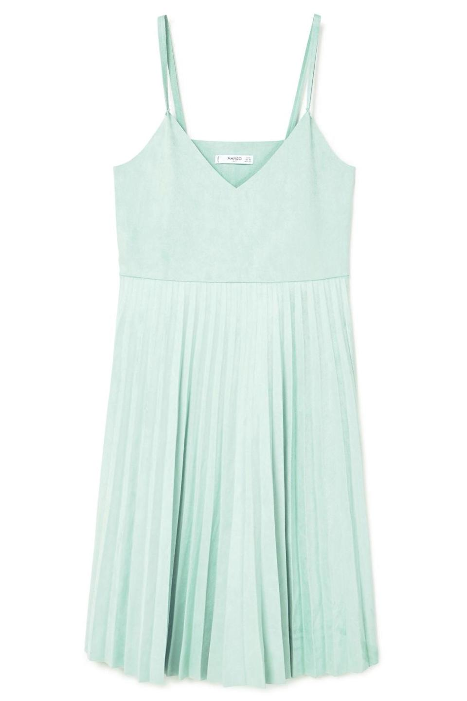 "<p><em>Pleated Dress, MANGO, $80</em></p><p><a href=""http://shop.mango.com/US/p0/women/clothing/dresses/midi/pleated-dress?id=83035539_40&n=1&s=search"" rel=""nofollow noopener"" target=""_blank"" data-ylk=""slk:BUY NOW"" class=""link rapid-noclick-resp"">BUY NOW</a></p>"
