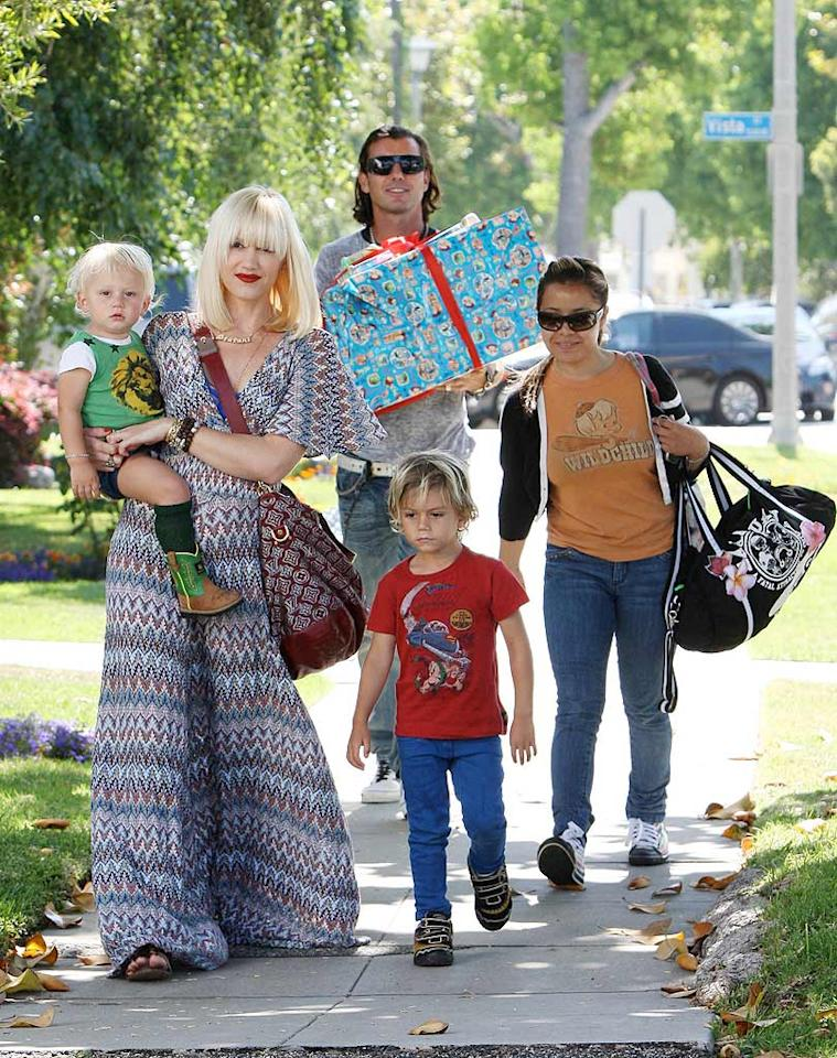 "Rockers Gwen Stefani and Gavin Rossdale took their boys, Kingston and Zuma, on yet another family outing in LA, this time armed with a giant gift. APG/<a href=""http://www.x17online.com"" target=""new"">X17 Online</a> - June 19, 2010"