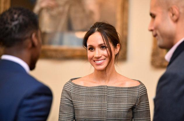 Meghan Markle chats with people during a visit to Cardiff Castle on Jan. 18, 2018.