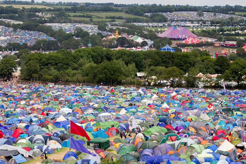 Campers at Glastonbury Festival, Pilton, Somerset (SWNS)