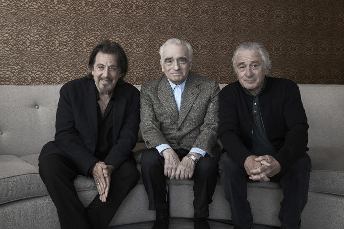 """This Sept. 30, 2019 photo shows actor Al Pacino, from left, director Martin Scorsese, and actor Robert De Niro posing for a portrait to promote their upcoming film """"The Irishman"""" in New York. (Photo by Victoria Will/Invision/AP)"""