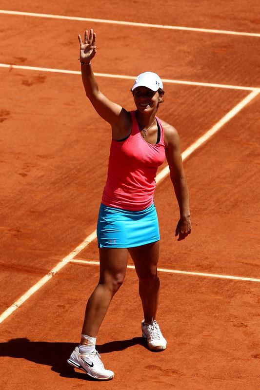 PARIS, FRANCE - JUNE 02: Varvara Lepchenko of USA celebrates victory in her women's singles third round match against Francesca Schiavone of Italy during day seven of the French Open at Roland Garros on June 2, 2012 in Paris, France. (Photo by Matthew Stockman/Getty Images)