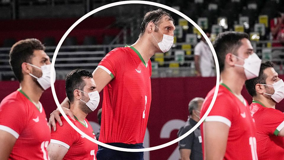 Iran's Morteza Mehrzad is seen here towering above teammates in Tokyo.