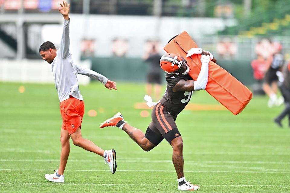 Cleveland Browns linebacker Mack Wilson (51) runs a drill during training camp at CrossCountry Mortgage Campus.