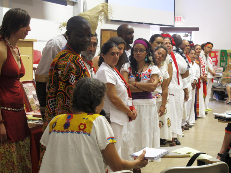 "FILE - This July 22, 2013, file photo shows curanderos, or traditional healers, at the University of New Mexico in Albuquerque during a workshop that attracted more than 200 traditional healers from across the country and Latin America. ""The Curse of La Llorona"" promotion using traditional Mexican healers for ""spiritual cleansings"" before screenings is drawing strong criticism from healers and scholars. Critics say the movie released Friday, April 19, 2019, is based on a Mexican folktale that has nothing to do with healers known as curanderos and the promotion exploits traditional healing practices used by Mexicans and Mexican Americans just to sell a film. (AP Photo/Russell Contreras, File)"