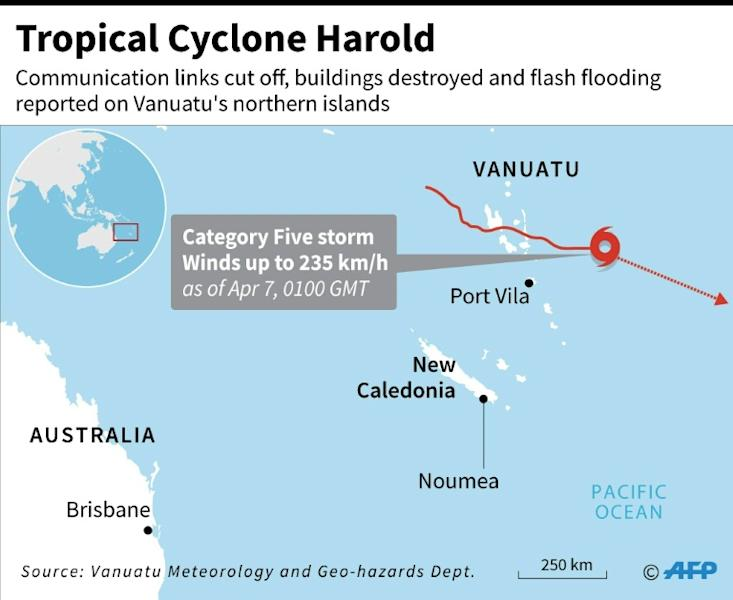 Map locating Tropical Cyclone Harold which swept through Vanuatu's northern provinces overnight on Tuesday as a scale-topping category five superstorm (AFP Photo/AFP )