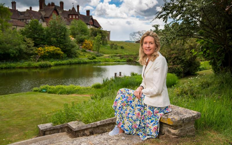 Lady Marina Cowdray in the garden of Cowdray House in Sussex - Andrew Crowley