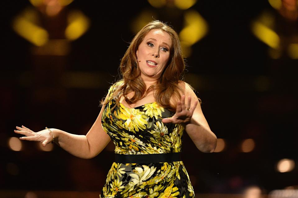 LONDON, ENGLAND - APRIL 08:  Host Catherine Tate speaks on stage during The Olivier Awards with Mastercard at Royal Albert Hall on April 8, 2018 in London, England.  (Photo by Jeff Spicer/Getty Images)