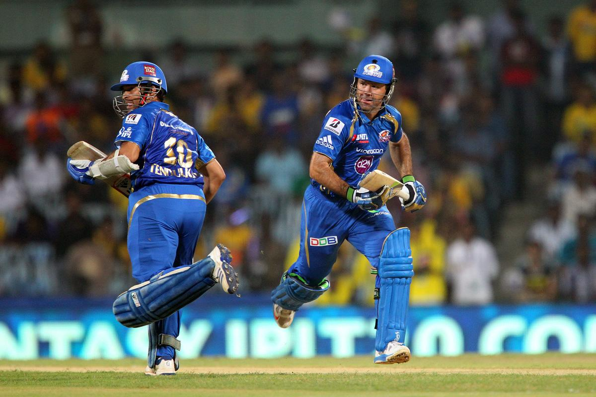 Ricky Pointing and Sachin Tendulkar during match 5 of of the Pepsi Indian Premier League between The Chennai Superkings and the Mumbai Indians held at the MA Chidambaram Stadiumin Chennai on the 6th April 2013..Photo by Ron Gaunt-IPL-SPORTZPICS ..Use of this image is subject to the terms and conditions as outlined by the BCCI. These terms can be found by following this link:..https://ec.yimg.com/ec?url=http%3a%2f%2fwww.sportzpics.co.za%2fimage%2fI0000SoRagM2cIEc&t=1503392507&sig=W486X.AOA5DVSDa1ThjdoQ--~D