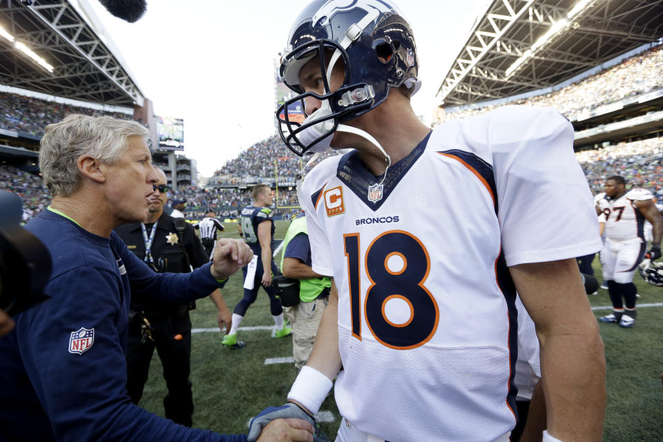 Seattle Seahawks coach Pete Carroll couldn't land Peyton Manning as a free agent. It worked out well for them both. (AP Photo/Elaine Thompson)