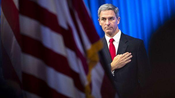 PHOTO: Acting Director of the U.S. Citizenship and Immigration Services (USCIS), Ken Cuccinelli leaves the lectern after speaking during a naturalization ceremony on July 2, 2019, in New York City. (Drew Angerer/Getty Images, FILE)