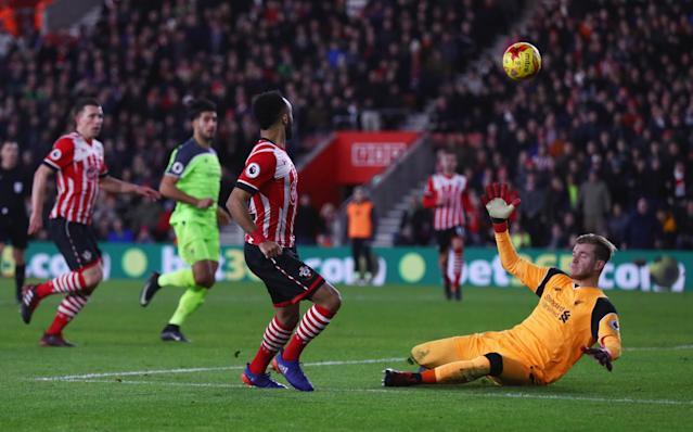 <p>Redmond nearly doubles Southampton's lead with a deft lob which comes back off the crossbar with Karius beaten (Getty Images) </p>