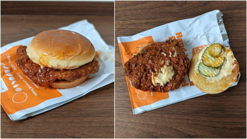 Exterior (left) and Interior (right) of the Spicy Hand-Breaded Crispy Chicken Sandwich