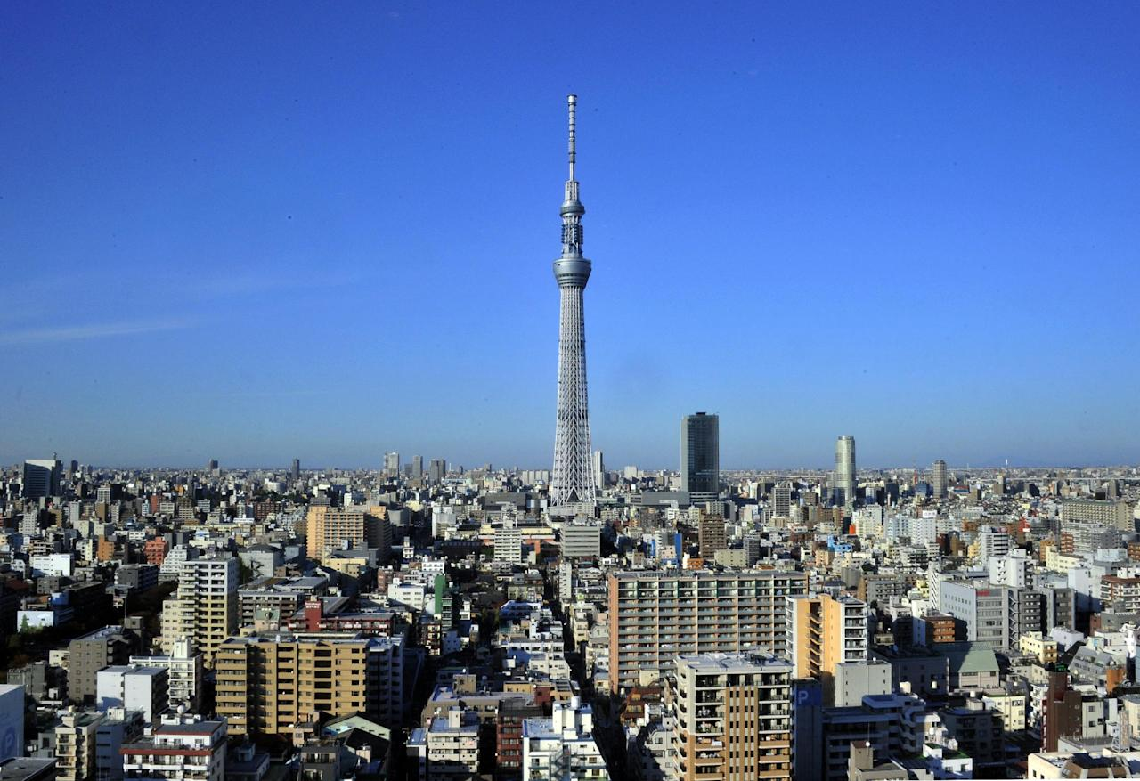 The 634-metre-tall Tokyo Sky Tree tower stands in eastern Tokyo