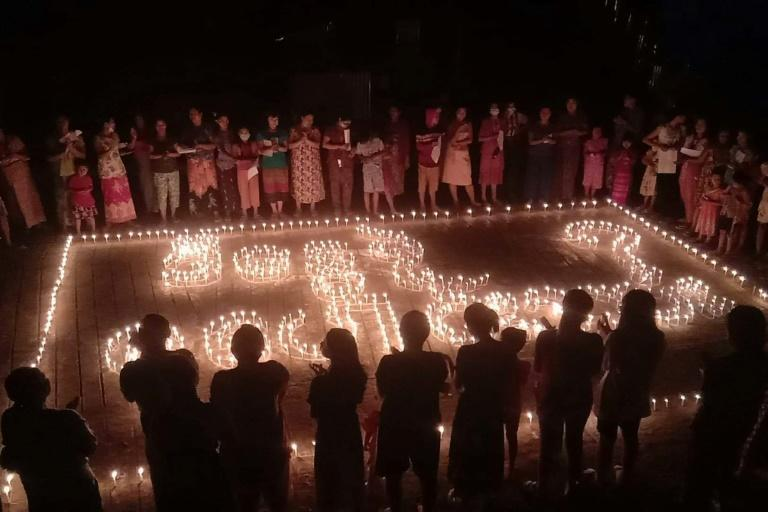 A candle light protest during a demonstration against the military coup in Hpakant township in Myanmar's northern Kachin