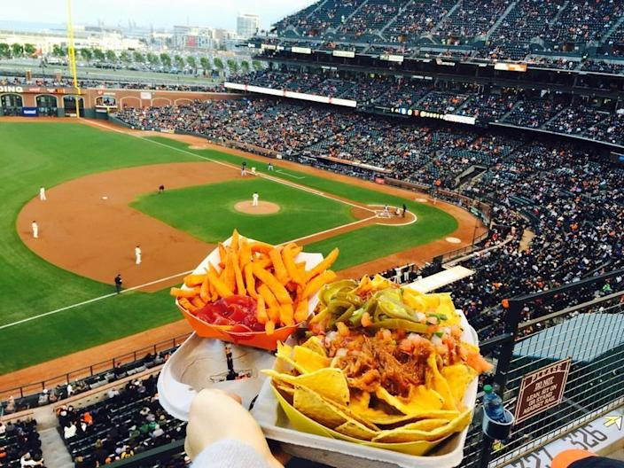 """<p><a href=""""http://sanfrancisco.giants.mlb.com/sf/ballpark/"""" rel=""""nofollow noopener"""" target=""""_blank"""" data-ylk=""""slk:AT&T Park"""" class=""""link rapid-noclick-resp"""">AT&T Park</a>, San Francisco</p><p>""""The premiere baseball park in California. Great food, great team, great atmosphere. Don't forget to get a cha-cha bowl, an ice cream sundae and of course, garlic fries. Tip: Get tickets on stubhub."""" -Foursquare user <a href=""""https://foursquare.com/churchchills"""" rel=""""nofollow noopener"""" target=""""_blank"""" data-ylk=""""slk:Roy Scopazzi"""" class=""""link rapid-noclick-resp"""">Roy Scopazzi</a></p>"""