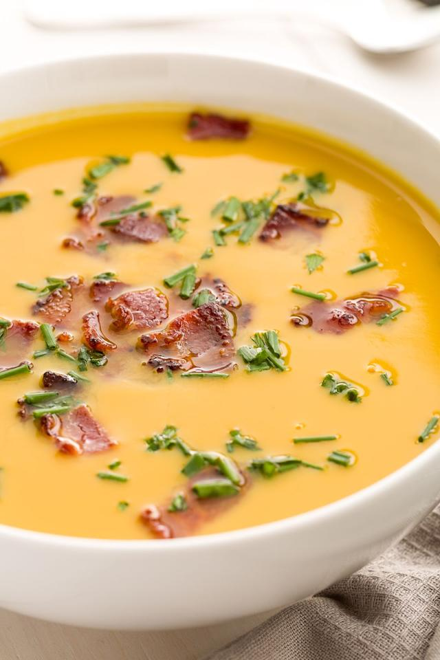 "<p>Love Trader Joe's soup? Upgrade it with one simple thing: Bacon.</p><p>Get the recipe from <a rel=""nofollow"">Delish</a>.</p><p><strong><em><a rel=""nofollow"" href=""https://www.amazon.com/Induction-Compatible-Premium-Stainless-Saucepan/dp/B01D0LQM0C/"">BUY NOW</a> Stainless Steel Saucepan, $16, amazon.com</em></strong></p>"