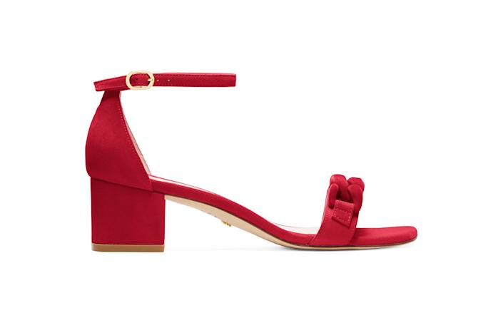 """<p>You're going to have to leave the house eventually, and these are the perfect heels to ease you back into the real world. Their block heel means that they're surprisingly comfy for a barely-there sandal, and the style is versatile enough to wear with jeans or a date-night dress. Best of all, they come in all kinds of fun colors, including red, lemon yellow, black or white.</p> <p><strong>Buy it!</strong> Stuart Weitzman Olive 75 Sandal, $395; <a href=""""https://www.anrdoezrs.net/links/8029122/type/dlg/sid/PEOTheBestValentinesGiftswithWhichtoTreatYourselfawurzburLifGal12563512202102I/https://www.stuartweitzman.com/products/amelina-block-50-chain/?DepartmentId=360&DepartmentGroupId=1&ColMatID=48651&F_Color=RED"""" rel=""""sponsored noopener"""" target=""""_blank"""" data-ylk=""""slk:stuartweitzman.com"""" class=""""link rapid-noclick-resp"""">stuartweitzman.com</a></p>"""