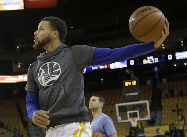Steph Curry met the criteria for the Designated Player Veteran Contract last year when he earned All-NBA honors and league MVP for a second consecutive season. (AP)