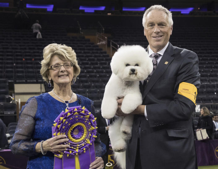 FILE - In this Feb. 13, 2018, file photo, handler Bill McFadden, right, poses for photos with Flynn, a bichon frise, and judge Betty-Anne Stenmark after Flynn won best in show during the 142nd Westminster Kennel Club Dog Show at Madison Square Garden in New York. McFadden, who has guided two Westminster winners, was rear-ended and injured while driving a van full of dogs cross-country to the show, his wife and fellow star handler, Taffe McFadden, said Saturday, June 12, 2021. (AP Photo/Mary Altaffer, File)