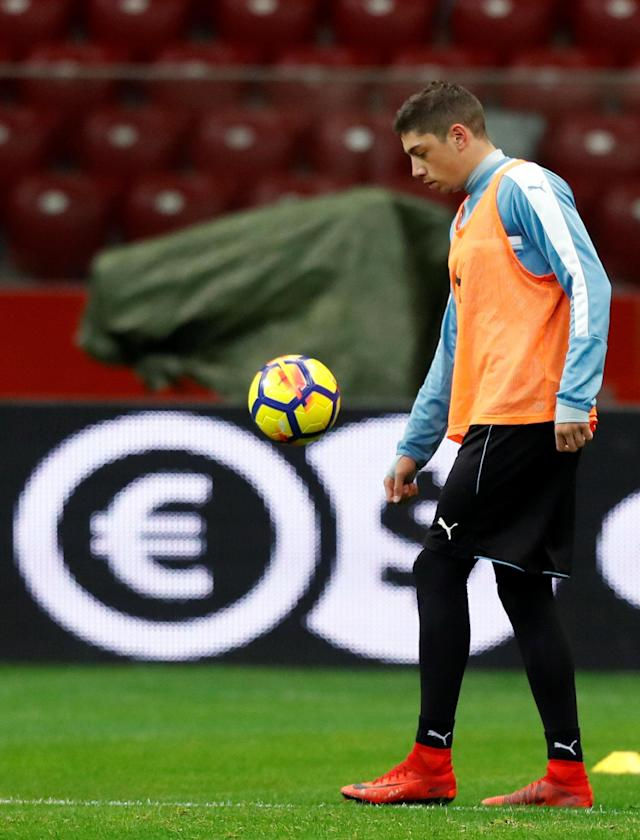 Soccer Football - Uruguay national soccer team training - National Stadium, Warsaw, Poland - November 9, 2017 Uruguay's Federico Valverde during practice session. REUTERS/Kacper Pempel