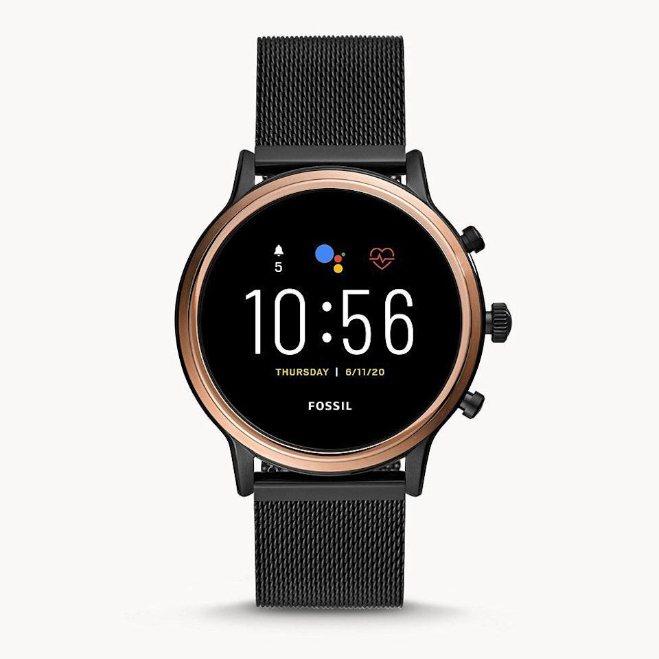"""Fossil makes a top-rated smartwatch that rivals the Apple Watch and FitBit. This one has a nice, large screen and is known for having a straightforward user interface. $295, Amazon. <a href=""""https://www.amazon.com/Fossil-Julianna-Stainless-Touchscreen-Smartwatch/dp/B07SW1KK31/ref=sr_1_7?crid=3O7K3DPDWD8Y2&dchild=1&keywords=fossil+smartwatch+women&qid=1618942998&sprefix=fossil+s%2Caps%2C187&sr=8-7"""" rel=""""nofollow noopener"""" target=""""_blank"""" data-ylk=""""slk:Get it now!"""" class=""""link rapid-noclick-resp"""">Get it now!</a>"""