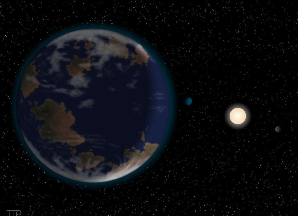 The planet is seven times the size of Earth, but could have water and an atmosphere (Image: University of Hertfordshire)