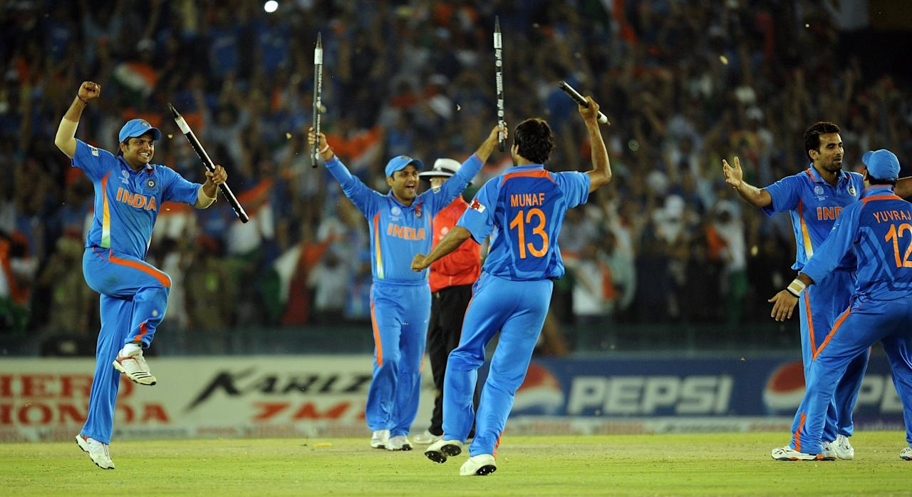 India vs Pakistan (Semi-final) at Mohali on 30 March 2011: Sachin Tendulkar led a charmed life but his 115-ball 85 set the foundation for India's total of 260 for 9 in a charged up Punjab Cricket Association Stadium in this high-profile semi-final clash. Wahab Riaz (5-46) knocked the stuffing out of India's middle-order but Suresh Raina's 36* from 39 deliveries helped the co-hosts set a competitive target for Pakistan.  Most of Pakistan's top-order got starts, but none of them went on to play a match-winning knock. Captain Misbah-ul-Haq's (56 from 76 deliveries) slow approach towards the end of the match came under heavy criticism as Pakistan eventually lost by 29 runs. India's five bowlers - Zaheer Khan, Ashish Nehra, Munaf Patel, Harbhajan Singh and Yuvraj Singh all took two wickets each.