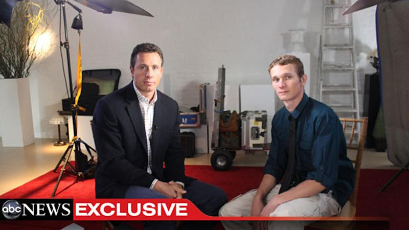 "This undated image from video shows ABC News' Chris Cuomo, left, with Aaron Fisher, 18, a victim of former Penn State assistant football coach Jerry Sandusky during an interview airing Friday, Oct. 19, 2012 on the news magazine show ""20/20,"" at 10 p.m. EST on ABC. Sandusky wants his child sexual abuse charges tossed out ""and/or"" a new trial, saying the statute of limitations had run out for many of the 45 counts for which he was convicted in June. Currently in a county jail near State College, he is awaiting transfer to the state prison system to begin serving a 30- to 60-year sentence. (AP Photo/ABC News)"