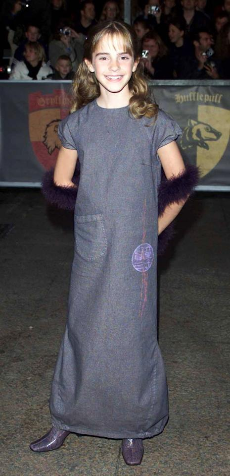 <p>The actress is age-appropriate at thepremiere of the first <em>Harry Potter</em> film at the Odeon Leicester Square, London, on Nov 4, 2001. (Photo: Getty Images) </p>