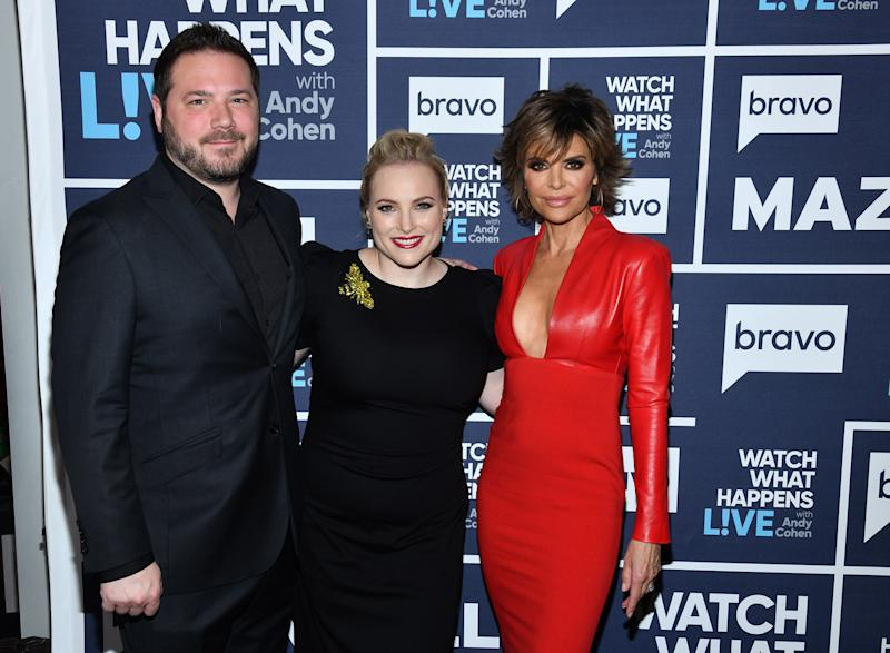 WATCH WHAT HAPPENS LIVE WITH ANDY COHEN -- Pictured (l-r): Ben Domenech, Meghan McCain and Lisa Rinna -- (Photo by: Charles Sykes/Bravo/NBCU Photo Bank via Getty Images)