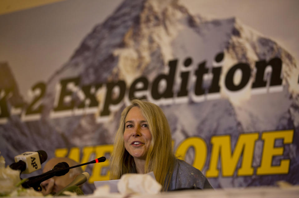 FILE - In this June 15, 2017 file photo, British-American mountaineer Vanessa O'Brien gives a news conference after arriving in Pakistan to attempt to summit K2, the world's second highest peak, in Islamabad, Pakistan. O'Brien went on to became the first American-British woman to summit K2. Dwarfed only by Mount Everest, K2 at 8,611-meter (28,250-foot) is one of the deadliest, that kills one in every four climbers who attempts it summit. (AP Photo/B.K. Bangash, File)