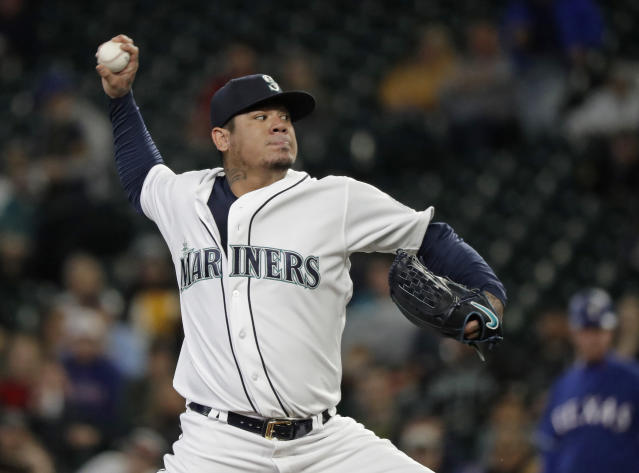 Seattle Mariners starting pitcher Felix Hernandez throws to a Texas Rangers batter during the first inning of a baseball game Tuesday, May 29, 2018, in Seattle. (AP Photo/Ted S. Warren)