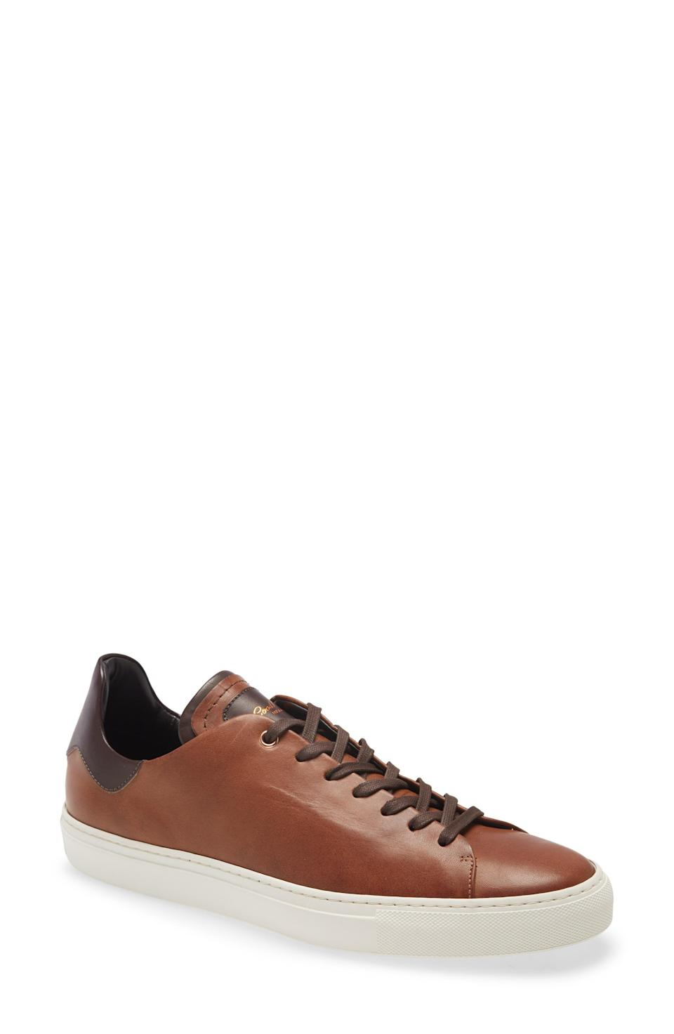 """<p><strong>Good Man Brand</strong></p><p>nordstrom.com</p><p><strong>$129.90</strong></p><p><a href=""""https://go.redirectingat.com?id=74968X1596630&url=https%3A%2F%2Fwww.nordstrom.com%2Fs%2Fgood-man-brand-legend-z-low-top-modern-core-sneaker-men%2F5799127&sref=https%3A%2F%2Fwww.menshealth.com%2Fstyle%2Fg37081969%2Fnordstroms-anniversary-sale-best-sneakers%2F"""" rel=""""nofollow noopener"""" target=""""_blank"""" data-ylk=""""slk:BUY IT HERE"""" class=""""link rapid-noclick-resp"""">BUY IT HERE</a></p><p><del>$198</del><br><strong>$129.90</strong></p><p>Of course, for the moments when you want or need an added level of polish, a pair of leather sneakers will always be a good option. These are sure to be a staple in your closet for years to come.</p>"""