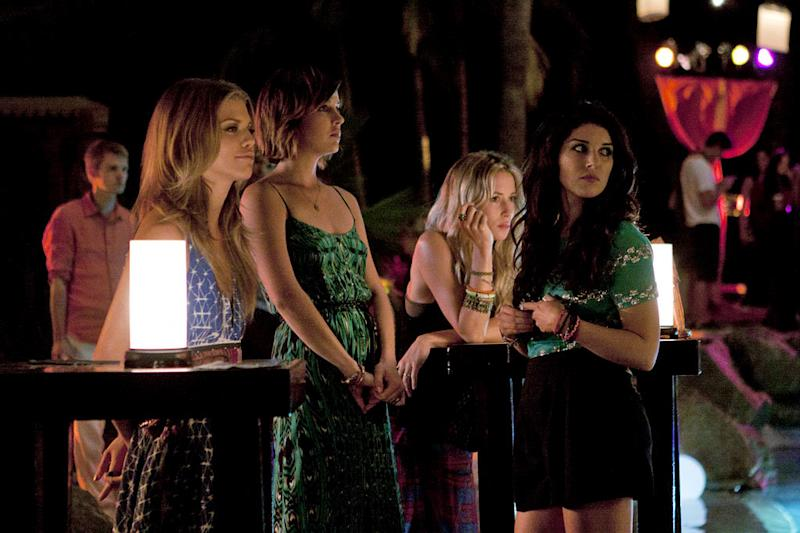 """""""Up In Smoke""""--LtoR: AnnaLynne McCord as Naomi Clark, Jessica Stroup as Erin Silver, Gillian Zinser as Ivy Sullivan, and Shenae Grimes as Annie Wilson on 90210 on The CW. Photo: Michael Desmond/The CW ©2011 The CW Network. All Rights Reserved. 90210"""