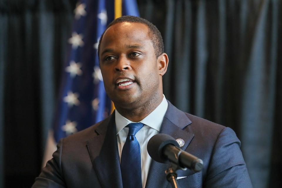 Kentucky Attorney General Daniel Cameron speaks during a press conference in Frankfort on Wednesday, September 13, 2020, on the results of his office's examination of the Breonna Taylor shooting case.