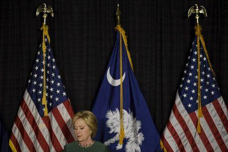 U.S. Democratic presidential candidate Hillary Clinton campaigns in Columbia, South Carolina.