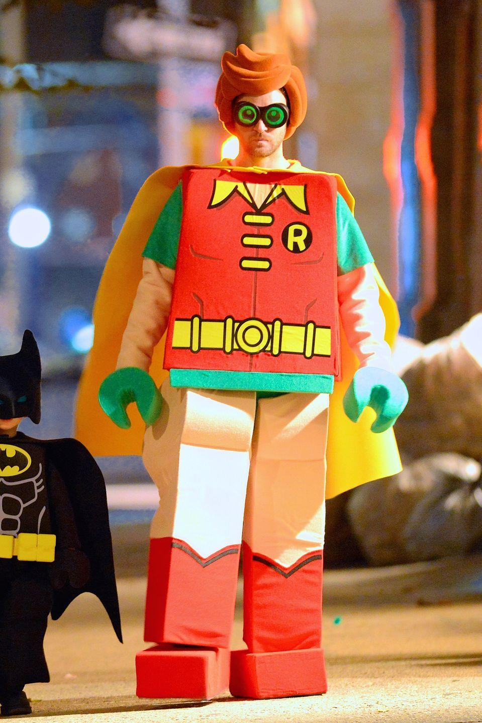 <p>Holy Halloween Heist, Batman! Justin Timberlake donned a Lego Robin costume out and about in New York City for the holiday in 2018.</p>
