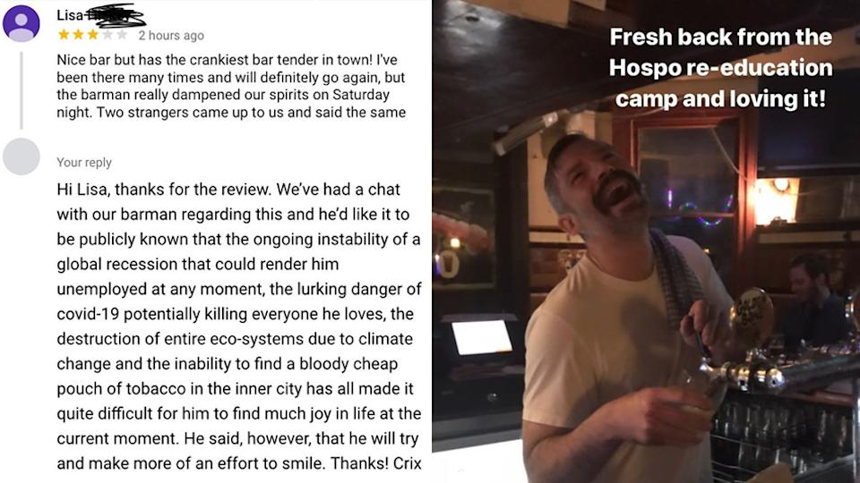 The Cricketers Arms Pub responds to a review about their 'cranky staff'