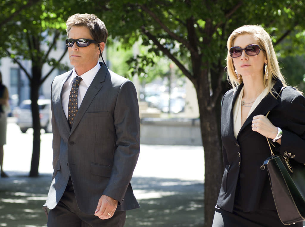 "Rob Lowe (Jeff Ashton) and Elizabeth Mitchell (Linda Burdick) in the Lifetime Original Movie, ""Prosecuting Casey Anthony."""