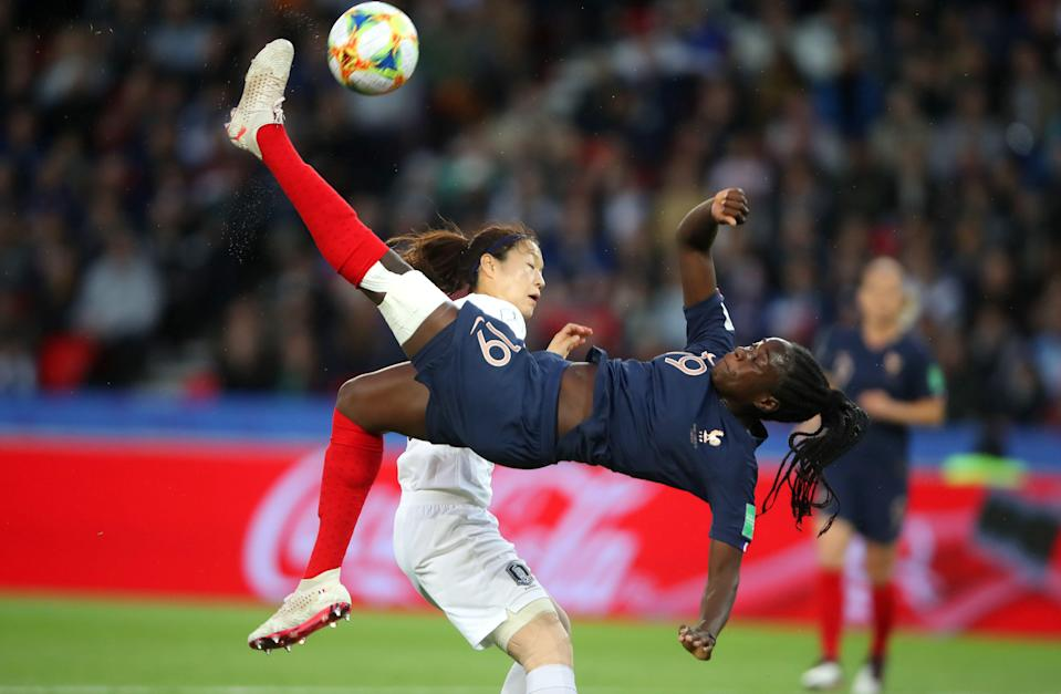 PARIS, FRANCE - JUNE 07: Griedge Mbock Bathy of France shoots towards goal during the 2019 FIFA Women's World Cup France group A match between France and Korea Republic at Parc des Princes on June 07, 2019 in Paris, France. (Photo by Alex Grimm/Bongarts/Getty Images)