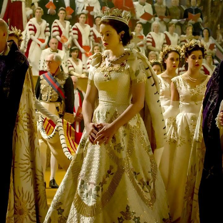 Queen Elizabeth in a gown on The Crown