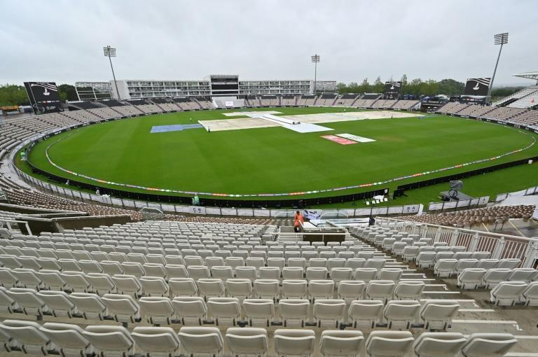Rain pain - the covers remain on the Hampshire Bowl pitch as rain stops play in the fourth day of the World Test Championship final between India and New Zealand at Southampton