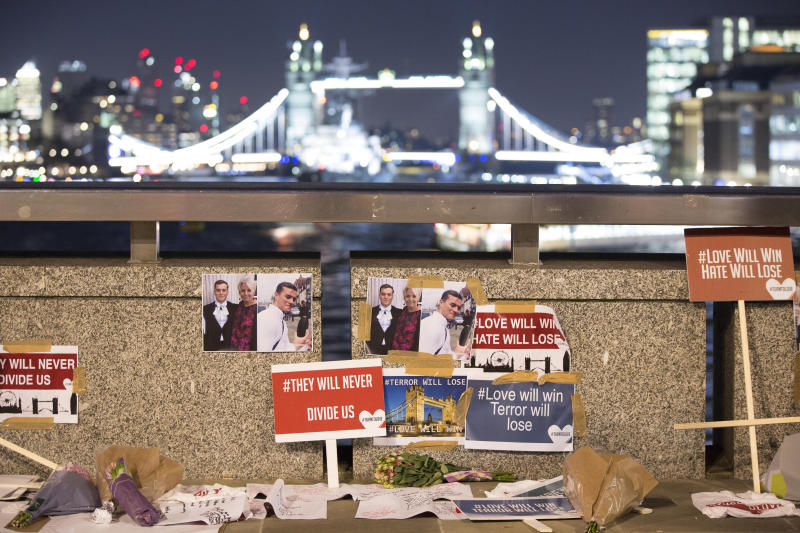 File photo dated 02/12/19 of tributes to Cambridge University graduates Jack Merritt, 25, and Saskia Jones, 23, on London Bridge, who were both stabbed to death by 28-year-old convicted terrorist Usman Khan during a prisoner rehabilitation event they were supporting in London on Friday. Inquests into the deaths of the London Bridge terror attack victims will be opened at the Old Bailey.