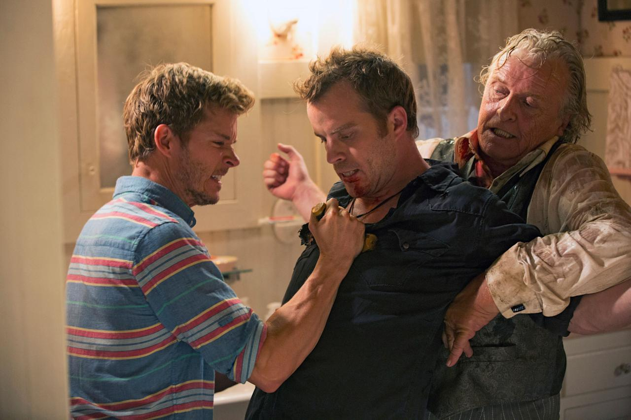 "Ryan Kwanten, Rob Kazinsky, and Rutger Hauer in the ""True Blood"" Season 6 episode, ""Radioactive."""