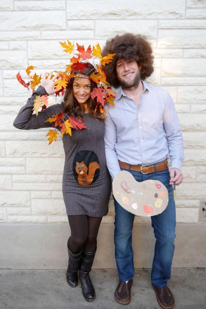 """<p>The painter and one of his beloved """"happy trees"""" are a clever combination—and if you're <a href=""""https://www.countryliving.com/life/kids-pets/g4972/halloween-costumes-pregnant-women/"""" rel=""""nofollow noopener"""" target=""""_blank"""" data-ylk=""""slk:expecting on Halloween"""" class=""""link rapid-noclick-resp"""">expecting on Halloween</a>, add a squirrel!</p><p><strong>Get the tutorial at <a href=""""https://www.creatingreallyawesomefunthings.com/diy-family-halloween-costume/"""" rel=""""nofollow noopener"""" target=""""_blank"""" data-ylk=""""slk:Create Really Awesome Fun Things"""" class=""""link rapid-noclick-resp"""">Create Really Awesome Fun Things</a>.</strong></p><p><strong><a class=""""link rapid-noclick-resp"""" href=""""https://www.amazon.com/GoFriend-Artificial-Decoration-Thanksgiving-Christmas/dp/B075ZPNMK1?tag=syn-yahoo-20&ascsubtag=%5Bartid%7C10050.g.4616%5Bsrc%7Cyahoo-us"""" rel=""""nofollow noopener"""" target=""""_blank"""" data-ylk=""""slk:SHOP FAUX FALL LEAVES"""">SHOP FAUX FALL LEAVES</a></strong></p>"""