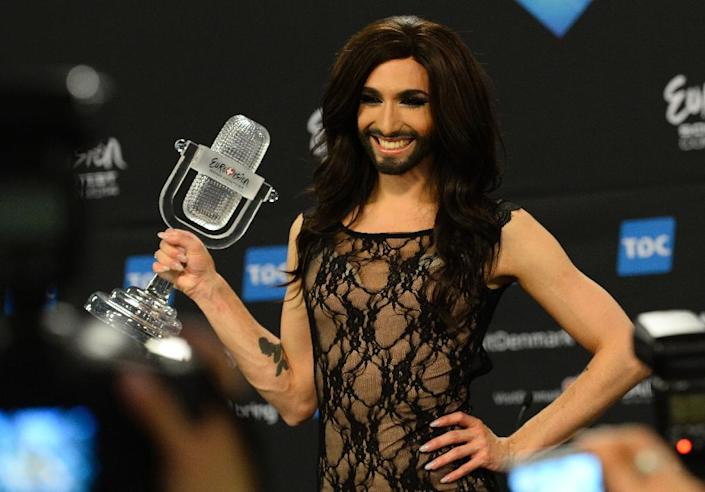 The Eurovision Song Contest promotes tolerance and Austrian bearded drag queen Conchita Wurst become a global ambassador for gay rights after winning the competition in 2014 (AFP Photo/JONATHAN NACKSTRAND)