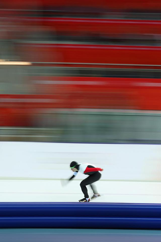 SOCHI, RUSSIA - FEBRUARY 08: Mathieu Giroux of Canada competes during the Men's 5000m Speed Skating event during day 1 of the Sochi 2014 Winter Olympics at Adler Arena Skating Center on February 8, 2014 in Sochi, Russia. (Photo by Quinn Rooney/Getty Images)