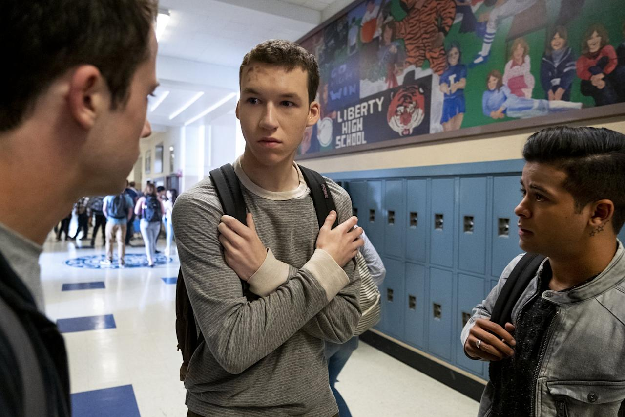 """<p>Season two brought a lot of depth to Tyler Down's character (Devin Druid). After surviving a sexual assault and an attempt to ignite a shooting on campus, Tyler's pals rally around him to help rehabilitate the troubled student. </p> <p>We see them each take shifts to monitor Down, check in, and help him find healthy ways to channel his inner rage and pain. He even joins Jessica Davis's school club to give a voice to rape survivors. Tyler initially joins out of obligation, during Jessica's watch-guard shift, initiating as an ally for survivors. Eventually, he opens up about his own experience, sharing details of the day <a href=""""https://www.popsugar.com/entertainment/Timothy-Granaderos-Interview-About-13-Reasons-Why-Season-2-44927180"""" class=""""ga-track"""" data-ga-category=""""Related"""" data-ga-label=""""http://www.popsugar.com/entertainment/Timothy-Granaderos-Interview-About-13-Reasons-Why-Season-2-44927180"""" data-ga-action=""""In-Line Links"""">Monty attacked him</a> with a broomstick in the school bathroom. </p> <p>We see Tyler struggle with paralyzing triggers, until he begins to confide in his new friends and own his story as a survivor. He eventually makes the decision to report Monty for sexual assault and make his story public, helping other fellow boys struggling with the same trauma. </p>"""