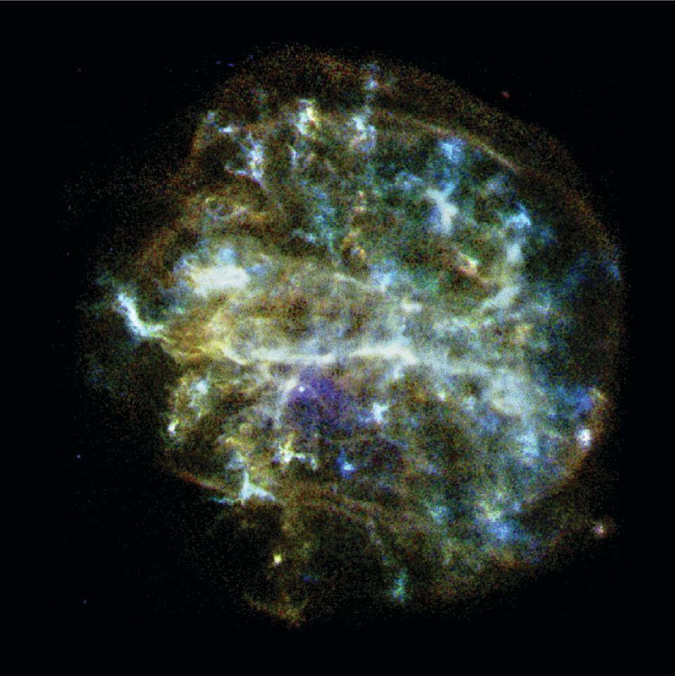 While it might look like a cosmic, space brain, this is actually an image of G292.0+1.8, a young, oxygen-rich remnant from a supernova that scientists think has a pulsar at its center, surrounded by outflowing material. The image, taken by NASA's Chandra X-ray Observatory   Observations using Chandra have created strong evidence that there is a pulsar in G292.0+1.8. Using observations like this, astronomers can study the connection between pulsars (a magnetized, rotating neutron star that emits electromagnetic radiation) and massive stars.   In this image, you can see a shell of expanding gas 36 light-years across. The gas contains elements including oxygen, neon, magnesium, silicon and sulfur.